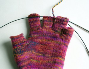 glove finger being reknit